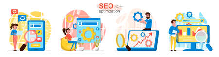 Seo optimization concept scenes set. Analytics team setting search, analyzes data, increases traffic, development. Collection of people activities. Vector illustration of characters in flat design