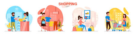 Shopping concept scenes set. Man and woman buy clothes at sales, choose shoes online, pay for purchases at store. Collection of people activities. Vector illustration of characters in flat design Ilustração