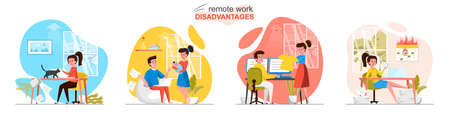 Remote work disadvantages concept scenes set. Employee distracted by child, family, pet, deadlines burning, problems. Collection of people activities. Vector illustration of characters in flat design