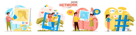 Social network concept scenes set. Man and woman take selfie, post photos, collect likes and comments, followers. Collection of people activities. Vector illustration of characters in flat design Ilustração