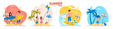 Summer time concept scenes set. Man and woman surfing, children swimming in sea, travel vacation at seaside resort. Collection of people activities. Vector illustration of characters in flat design Ilustração