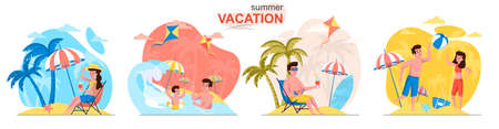 Summer vacation concept scenes set. Man and woman relax on beach, family swimming, couple plays ball, seaside resort. Collection of people activities. Vector illustration of characters in flat design