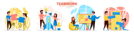 Teamwork concept scenes set. Employees work on project together, launch startup, hold business meeting, collaboration. Collection of people activities. Vector illustration of characters in flat design