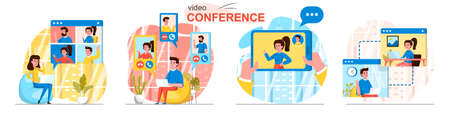 Video conference concept scenes set. Employees make video call to colleagues, men and women meet online with friends. Collection of people activities. Vector illustration of characters in flat design