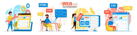 Web development concept scenes set. Developers code in different programming languages, create web pages, interfaces. Collection of people activities. Vector illustration of characters in flat design Ilustração