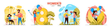 Womens day concept scenes set. Men give flowers, congratulate on holiday, young girls take selfie, celebrating. Collection of people activities. Vector illustration of characters in flat design Ilustração