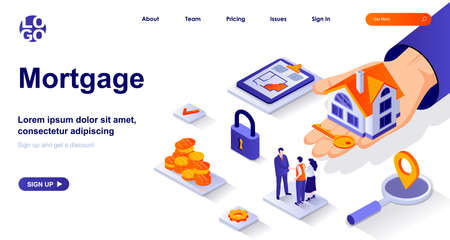 Mortgage isometric landing page. Bank loan for home purchase isometry concept. Estate agent selling house, apartment rent 3d web banner. Vector illustration with people characters in flat design