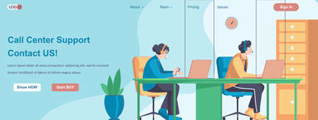 Call Center Support Contact Us web banner concept. Tech service operators consulting clients, hotline employees work landing page template. Vector illustration with people characters in flat design Ilustração