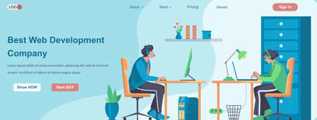 Best Web Development Company banner concept. Developers team working on project, programists coding at computers landing page template. Vector illustration with people characters in flat design
