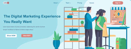 The Digital Marketing Experience You Really Want web banner concept. Business promotion or advertising, profit growth landing page template. Vector illustration with people characters in flat design Ilustração