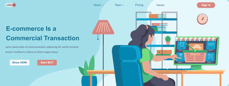 E-commerce Is a Commercial Transactions web banner concept. Woman makes purchase at store website, online shopping landing page template. Vector illustration with people characters in flat design Ilustração