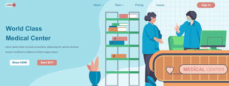 World Class Medical Center web banner concept. Doctor and nurse work in hospital, medical service and healthcare landing page template. Vector illustration with people characters in flat design