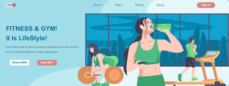 Fitness and Gym Is It Lifestyles web banner concept. Women doing exercises, man running on treadmill in sports club landing page template. Vector illustration with people characters in flat design