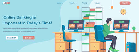 Online Banking Is Important in Todays Time web banner concept. Man checks bank account in online office from computer landing page template. Vector illustration with people characters in flat design