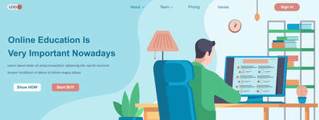Online Education Is Very Important Nowadays web banner concept. Student takes exam from computer, man learns from home landing page template. Vector illustration with people characters in flat design
