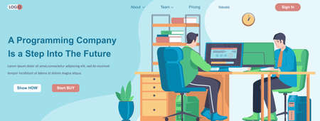Programming Company Is a Step Into The Future web banner concept. Programmers develop software, work on computers landing page template. Vector illustration with people characters in flat design