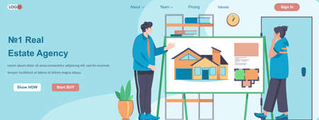 Real Estate Agency web banner concept. Realtor advises client, shows presentation with drawings of future home to buyer landing page template. Vector illustration with people characters in flat design Ilustração