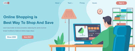 Online Shopping Is Best Way To Shop and Save web banner concept. Man makes purchase at store website, pays online landing page template. Vector illustration with people characters in flat design