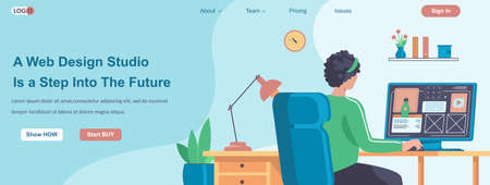 Web Design Studio Is a Step Into The Future banner concept. Designer creates layout of site, makes website at office landing page template. Vector illustration with people characters in flat design Ilustração