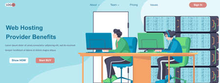 Web Hosting Providers Benefits banner concept. Online administrators team working in computer web data center server landing page template. Vector illustration with people characters in flat design