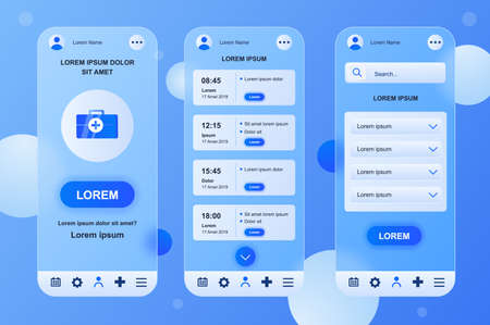 Medical services neumorphic elements kit for mobile app. Online account, doctor schedule, appointment, consultation. UI, UX, GUI screens set. Vector illustration of templates in glassmorphic design