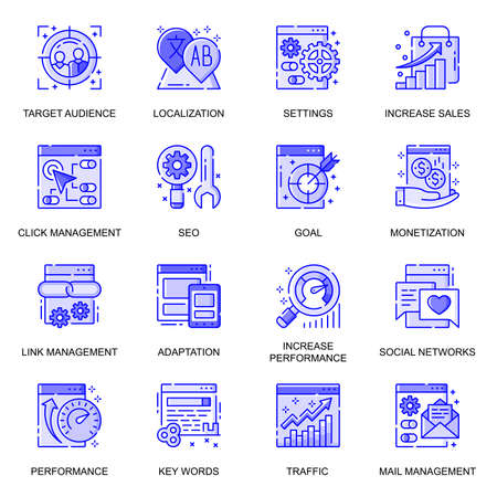 SEO optimization web flat line icons set. Pack outline pictogram of click management, traffic, keywords, data analytic, monitoring concept. Vector illustration of symbols for website mobile app design
