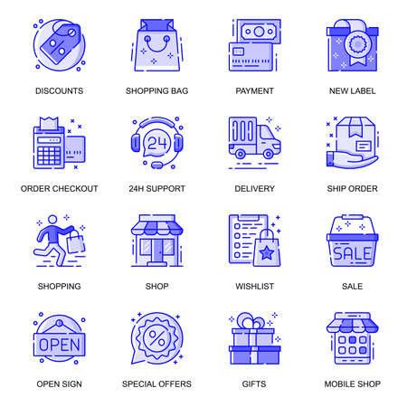 E-Commerce web flat line icons set. Pack outline pictogram of shopping, discount, payment, new label, order, 24h support shop concept. Vector illustration of symbols for website mobile app design