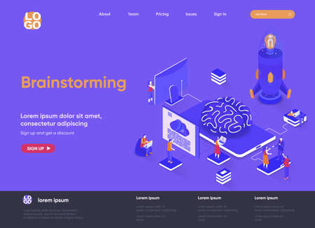 Brainstorming isometric landing page. Innovation solution, business idea generation and launch new startup project isometry web page. Website flat template, vector illustration with people characters.