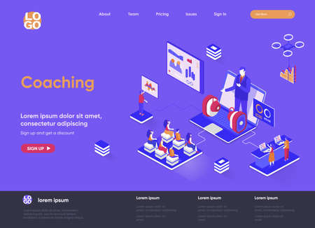 Coaching isometric landing page. Business consultation and assistance, career growth, motivation and mentoring isometry web page. Website flat template, vector illustration with people characters. Vetores