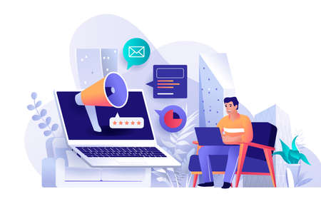Outbound marketing concept in flat design. Business product promotion scene template. Man works on laptop, attracts new customers, makes ad mailing. Vector illustration of people characters activities Vektoros illusztráció