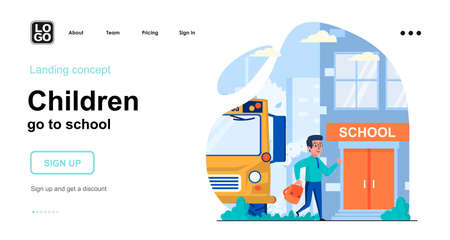 Children go to school web concept. Schoolboy came to school on school bus. Primary education. Template of people scenes. Vector illustration with character activities in flat design for website