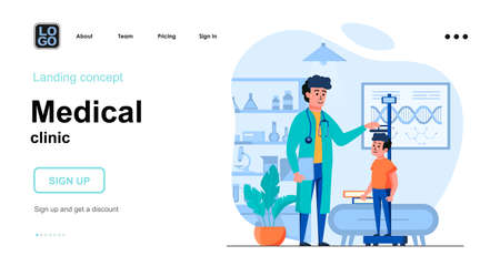Medical clinic web concept. Pediatrician measures boy height at office. Child patient visits doctor. Template of people scene. Vector illustration with character activities in flat design for website Vector Illustration