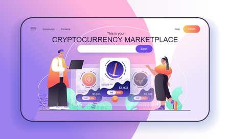This is your Cryptocurrency Marketplace concept for landing page. People analyze financial statistics, sell or buy bitcoins web banner template. Vector illustration in flat cartoon design for web page Vektoros illusztráció