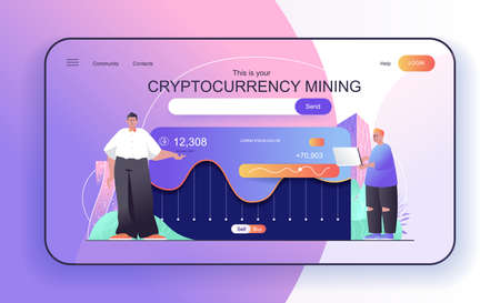 This is your Cryptocurrency Mining concept for landing page. People make digital money, crypto business and bitcoin mining web banner template. Vector illustration in flat cartoon design for web page