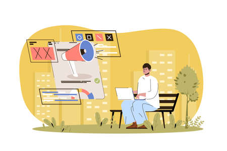 Advertising web character concept. Ad campaign in social networks, successful online communication, user advertisement, isolated scene with person. Vector illustration with people in flat design