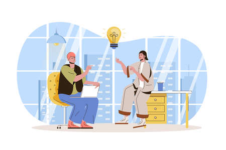 Teamwork web character concept. Employees brainstorming, create ideas, discussing work tasks, successfully collaborate isolated scene with persons. Vector illustration with people in flat design Vetores
