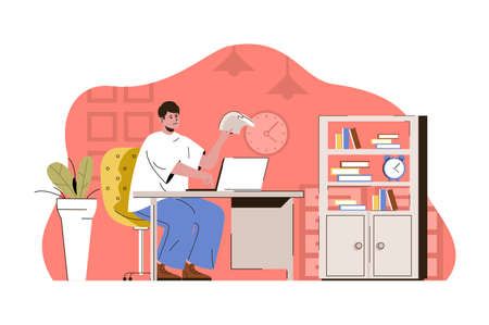 Exemplary management concept. Employee working on laptop in office situation. Successful workflow organization people scene. Vector illustration with flat character design for website and mobile site