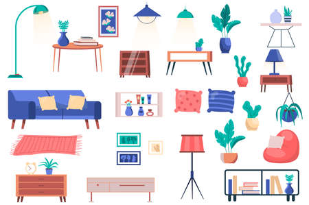 Furniture, house plants and decor isolated elements set. Bundle of sofa with pillows, tables, lamps, pillows, shelves, paintings and other. Creator kit for vector illustration in flat cartoon design Vektorové ilustrace