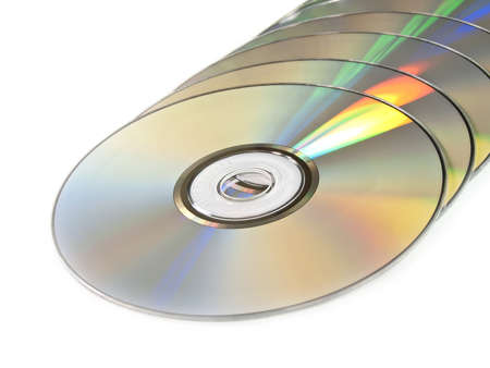 The isolated pile of disks on the white photo