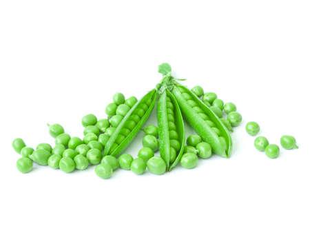 Three fresh isolated opened peas pod on a white background photo
