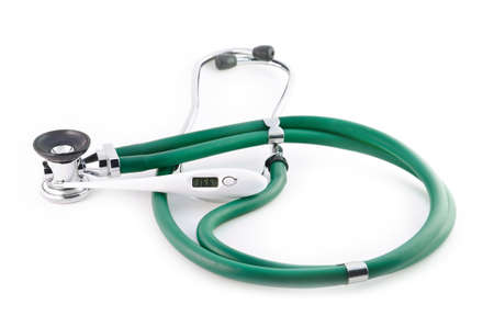 deg: The isolated green stethoscope and thermometer 36,6 on a white background