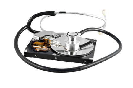 Isolated stethoscope on the hard disk drive over white photo