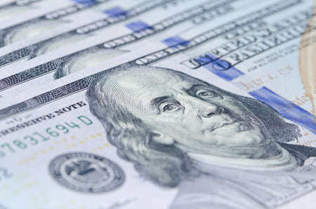 benjamin: Macro shot of Benjamin Franklin 100 dollar bill, shallow depth of field Stock Photo