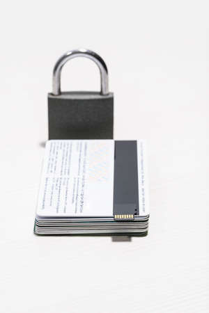 Barn lock on isolated Bank cards close-up, shallow depth of field Zdjęcie Seryjne
