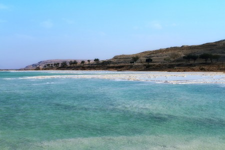 Crystal sal beach on Dead Sea coast, Israel. The Dead Sea surface and shores are 430.5 m below sea level.