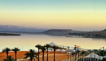 View of Dead Sea coastline at sunset, Israel