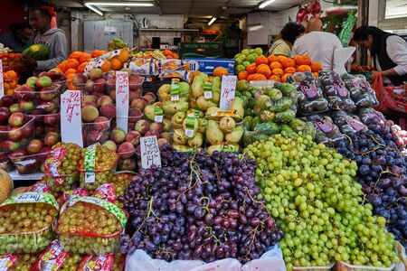 TEL AVIV, ISRAEL - APRIL 24, 2019. Fresh fruits and vegetables are sold at the Carmel open market in Tel Aviv, Israel. East market.