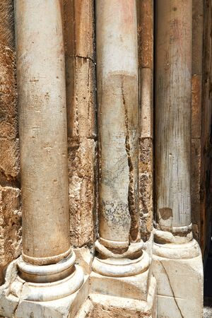 Jerusalem, Israel - Columns at the entrance to the Holy Sepulcher in Jerusalem. Is the most sacred place for all Christians in the world. Golgotha, Stone of Anointing, Grave