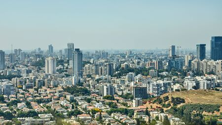 Panorama Tel Aviv overlooking the District of Tel Aviv business center and the highway from the balloon 版權商用圖片