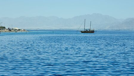 View from the luxury yacht to the Red Sea. Hotels for tourists, boats and yachts for a good holiday.
